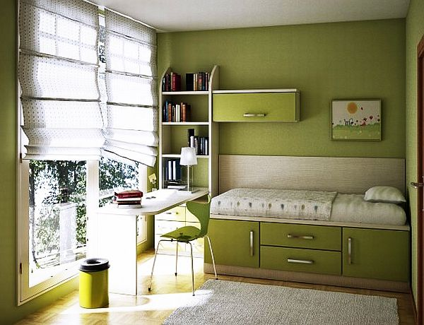 Grand Girl Bedroom Using Green Wall Paint alsi Bed With Drawers