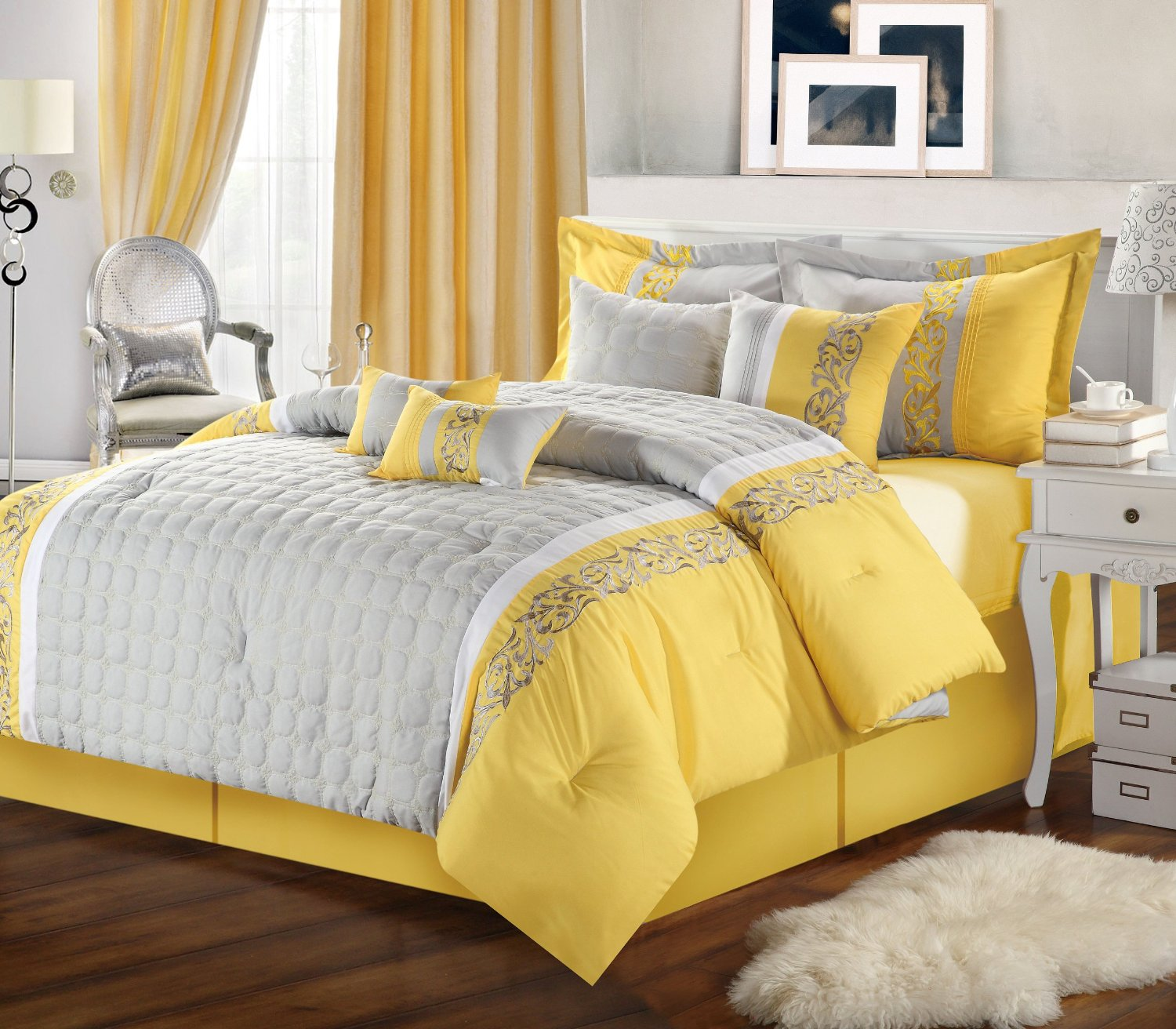 Grand Interior Gray Bedroom Ideas With Yellow Accent also Arm Chair Near Window