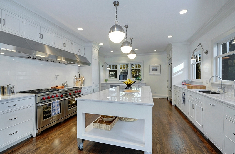 Grand Kitchen Decor Using Winsome Pendant Lighting also Cabinet and Table