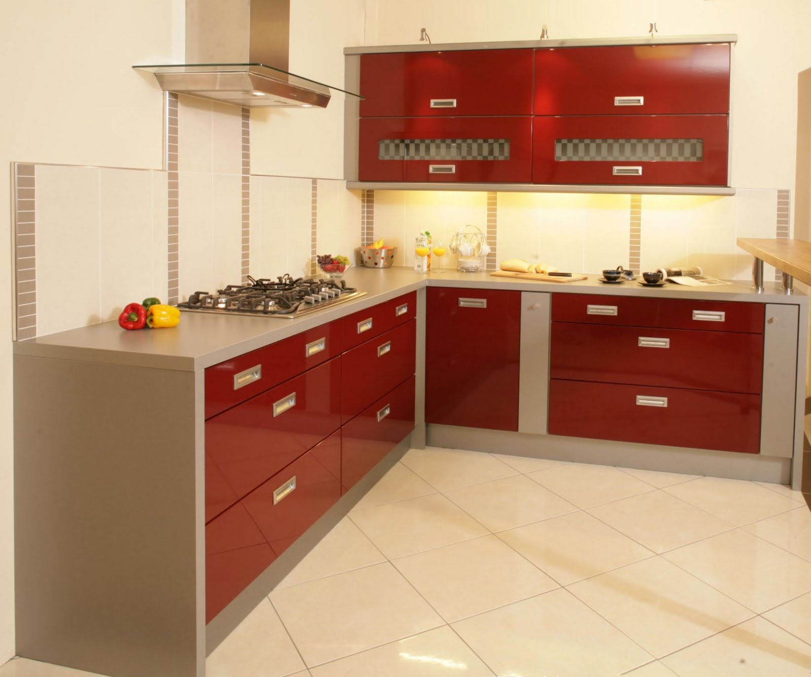 Grand Kitchen For Small Apartment Using Red L Shape Cabinet Design
