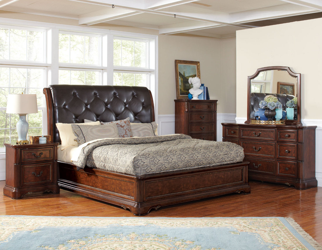 Horrible Bedroom with Impressive Bed Beside Table Lamp Plus Wooden Dresser