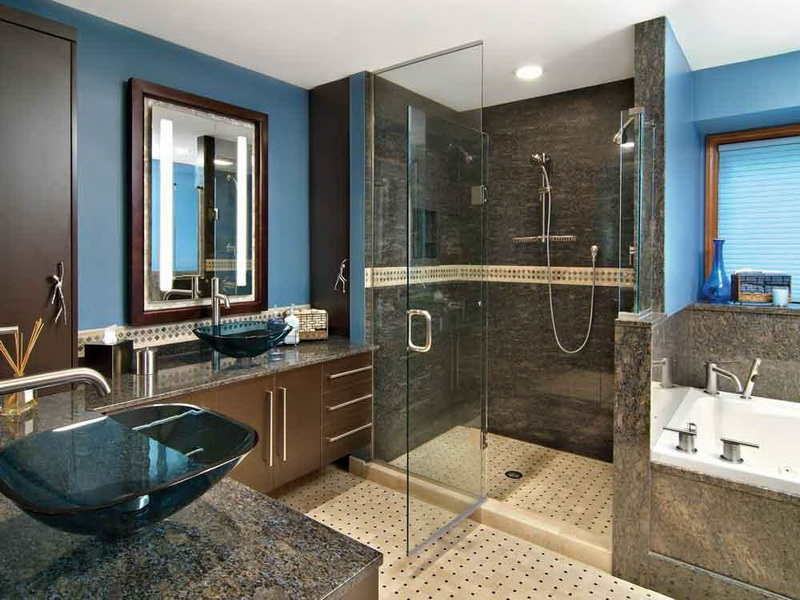 Horrible Cabinet With Granite Top and Glass Sink For Bathroom Layout Ideas