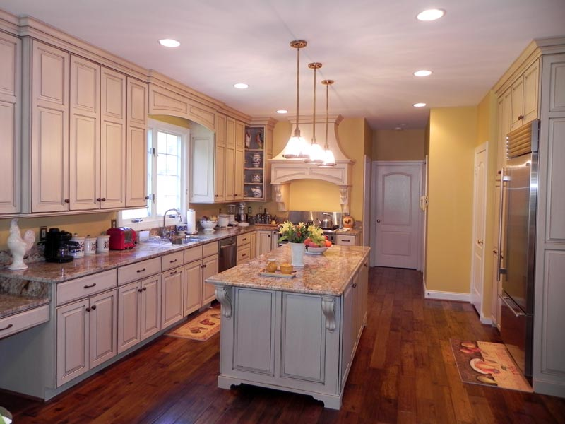Horrible Kitchen Decor With Cabinet Using Granite Top also Lush Light Fixture