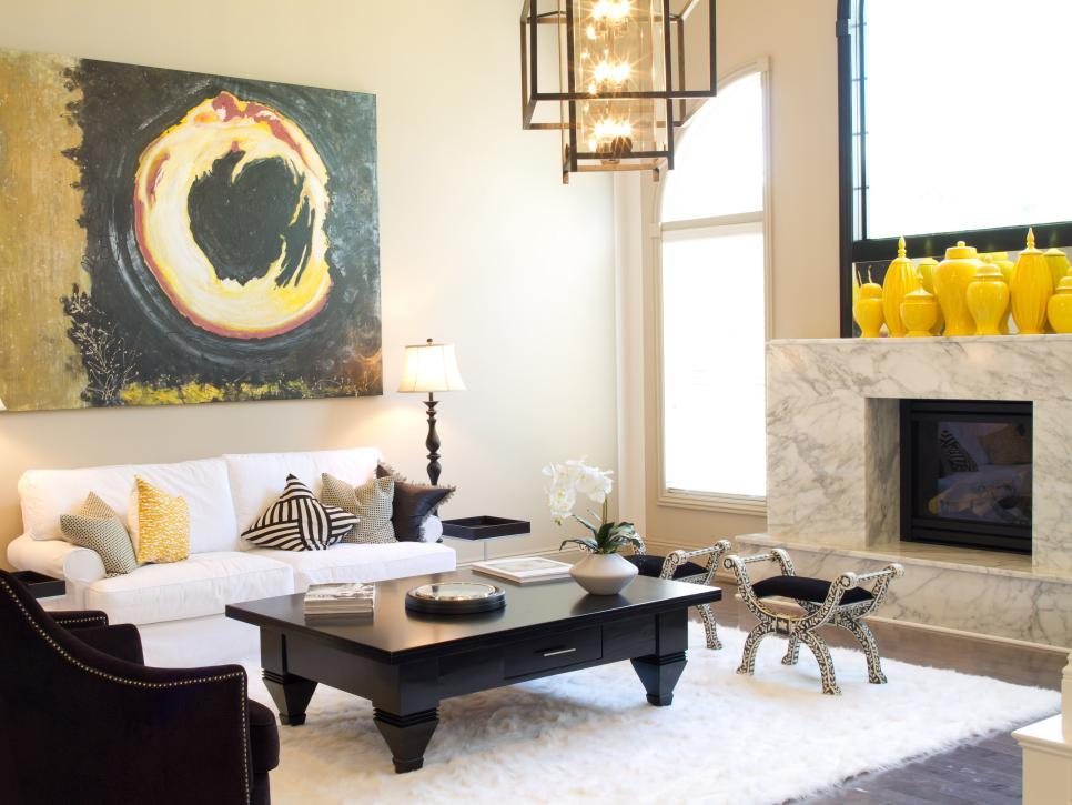 Horrible Painting also Yellow Living Room Jars On Fireplace  Shelve