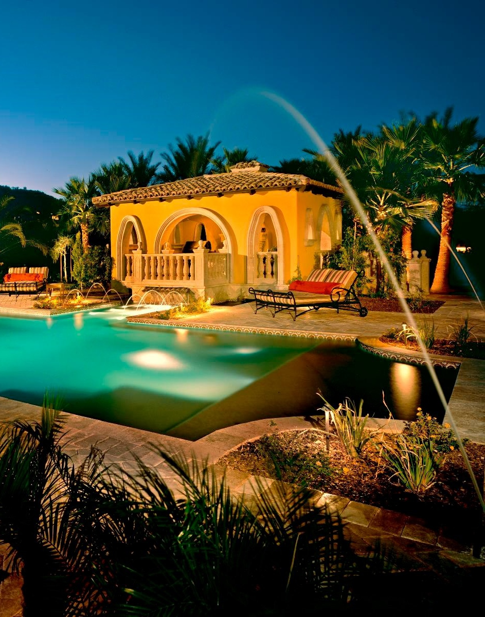 Horrible Pool House Ideas Using Water Fountain also Long Beach Chairs