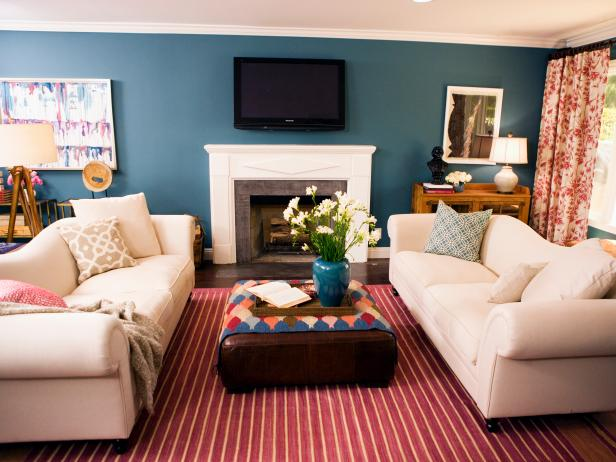 Horrible Stripe Living Space Rugs also White Sofas and Wooden Table