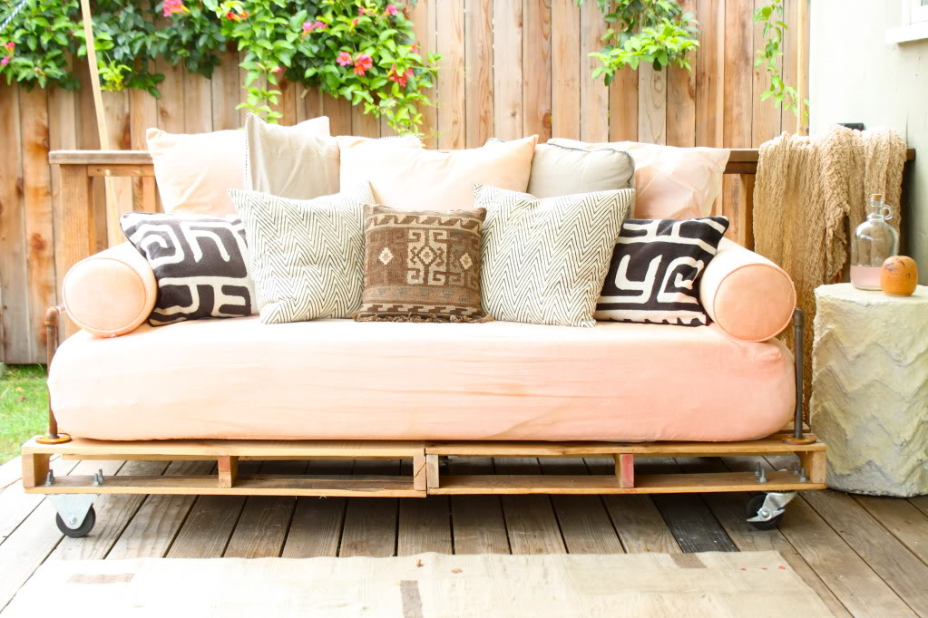 Horrible Style of Porch Bench With Comfortable Seat and Many Pillows