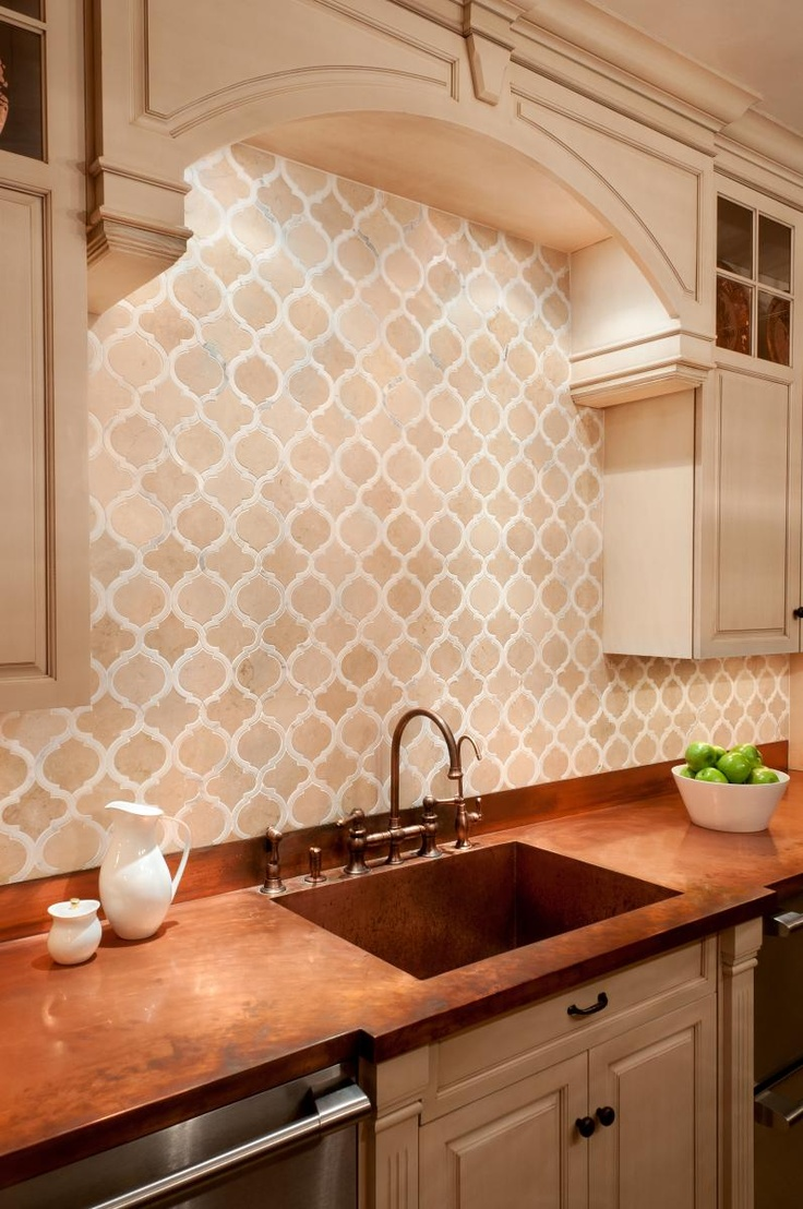 Hunky Back Splash Tile also Neat Cabinet With Brown Countertop