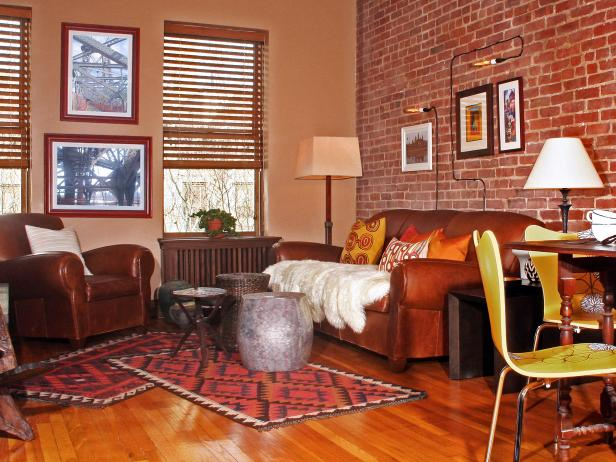 Hunky Brick Wall Decor also Brown Leather Sofa plus Carpet