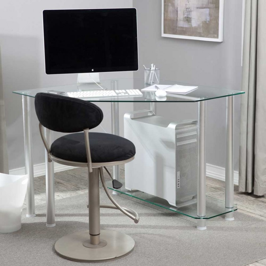 Hunky Concept of Desk With Metal Legs also Tempered Glass Top