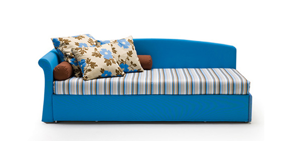 Hunky Design of Blue Sofa Bed With Stripe Seat and Flowery Pillows