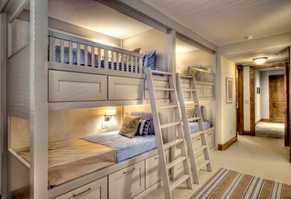 Hunky Intereior Bedroom With Lavish Bunk Beds Using Ladders