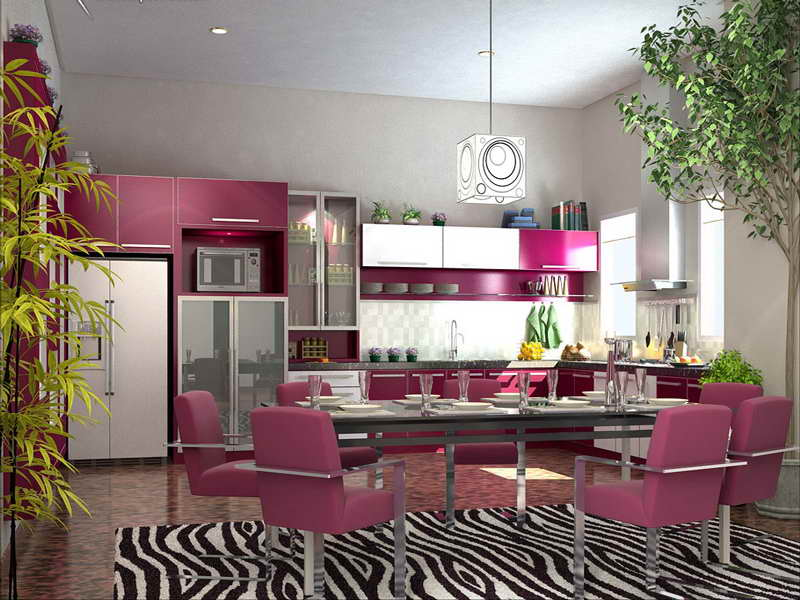 Hunky Kitchen Decorating Themes With Purple Wall Design and Furniture