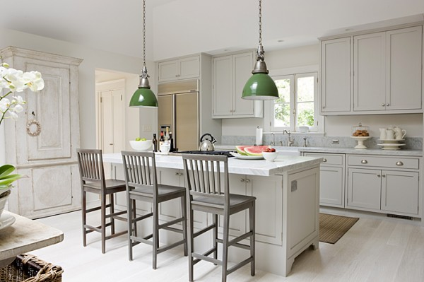 Ideal Kitchen With Cabinet also Wooden Chair Plus Green Pendant LIghting