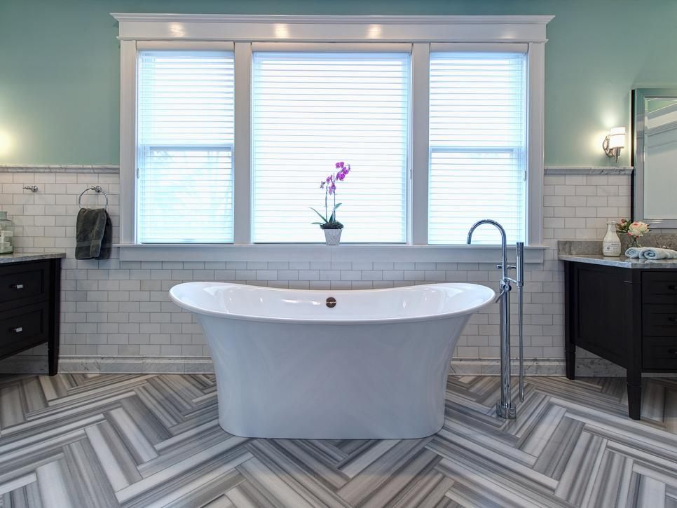 Gentil Impressive Bathroom With V Shape Floor Tile And White Wall Decor ·  Ravishing Floor Small Bathroom Tile Ideas ...
