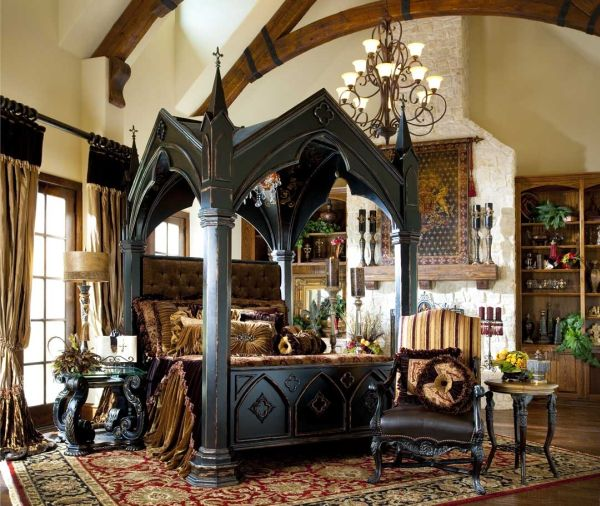 Impressive Bedroom With Gothic Home dEcor Using Awful Bed also Chandelier