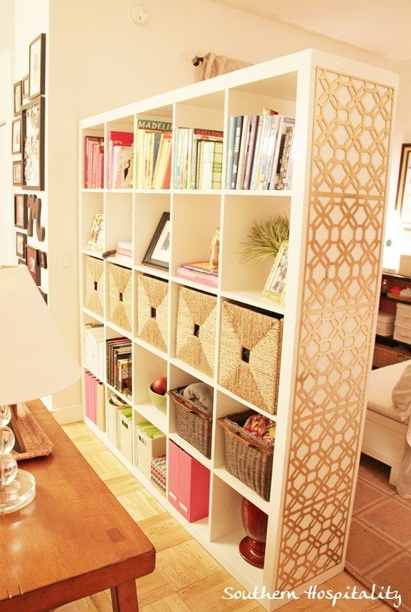 Impressive Bookshelf Room Divider also Rattan Basket Near Wooden Coffee Table