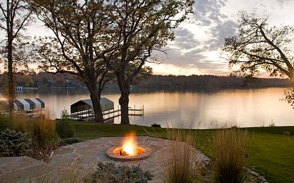Impressive Concrete Deck With Fire Pit Seating Also Beautiful Scenery Of  Lake