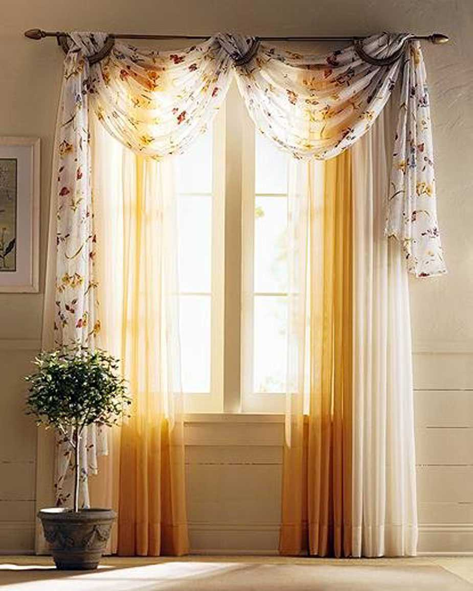 Impressive Curtain For Best White and Yellow Living Room Decor