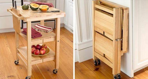 Impressive Folding Rolling Wooden Table As Perfect Saver Furniture Pictures Gallery