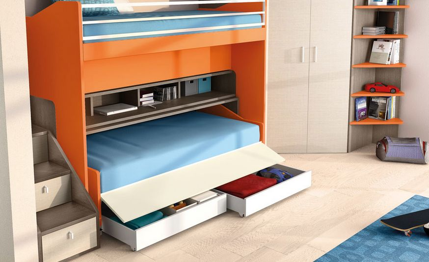 Good Storage Saving Furniture. Impressive Kids Bedroom Furniture Using Bunk Bed  With Under Storage Saving