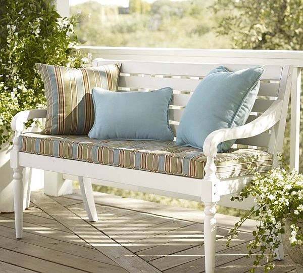 Impressive Style Of Front Porch BEnch With Stripe Seat and Pillow