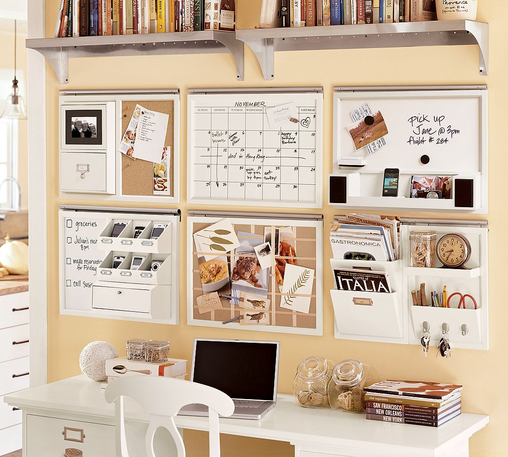 Impressive Wall Decor also Mounted Shelve Under White Desk and Chair
