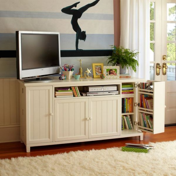 Impressive Wooden Cabinet and Bookshelve also LED TV for Public Room