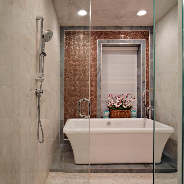 Inspiring Showering Area Using Visible Glass Door and Soaking Tub