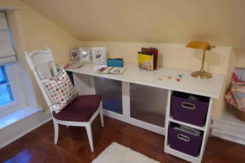 Interesting Computer Desk With Purple Storage also Golden Table Lamp Decor