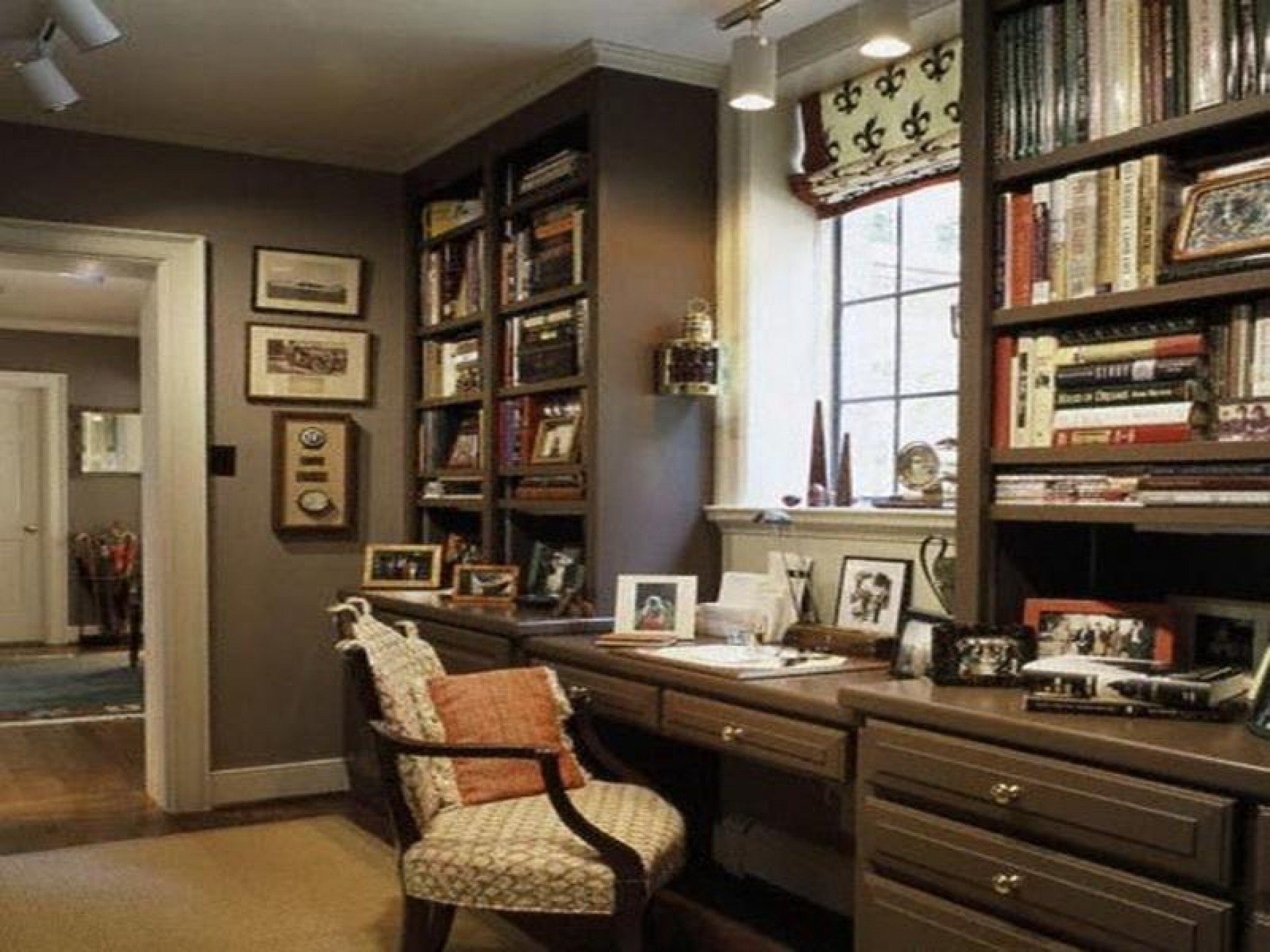 Interesting Desk With Book Shelves also Arm Chair and Pillow