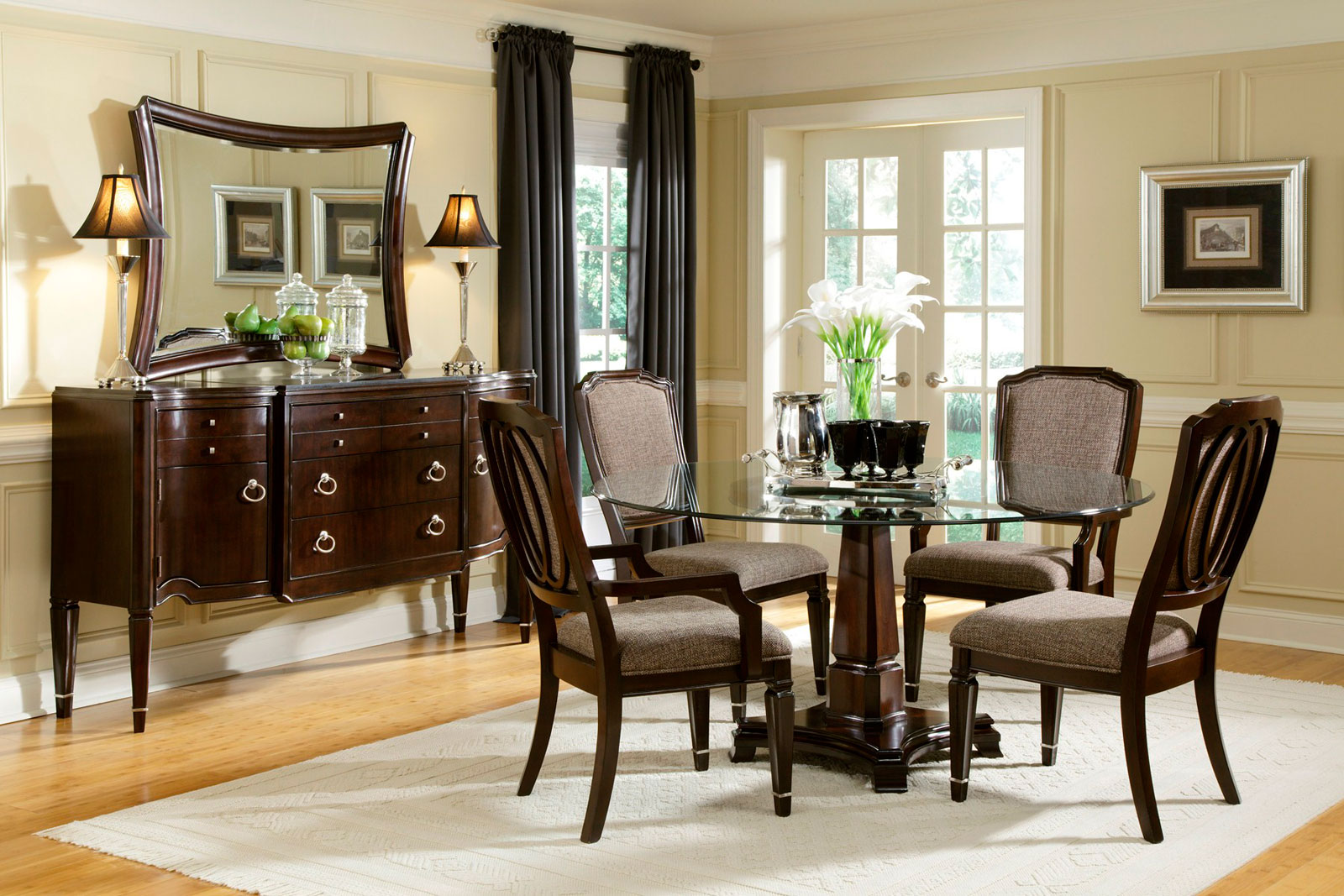 dining room design round table. Interesting Dining Room With Circle Glass Table Also Charming Chairs Design Round