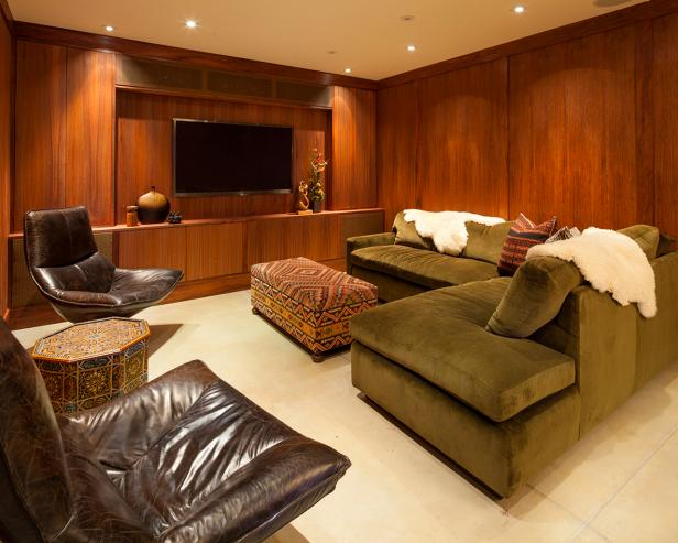 Interesting Family Room With Natural Wood Paneling Ideas also L Shape Sofa