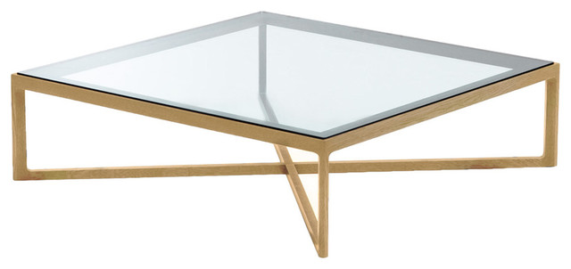 Interesting Idea of Square Glass Coffee Table With Brown Legs and Frames