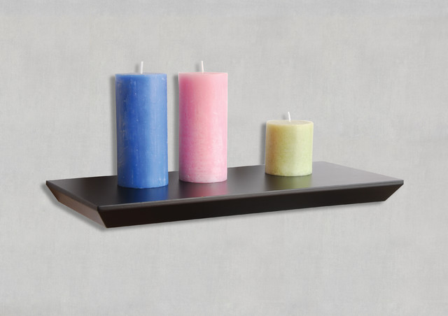 Interesting Interior Room With Colorful Candle On Black Floating Shelves
