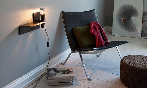 Interesting Lamp With Shelves Beside Charming Black Chair and Table