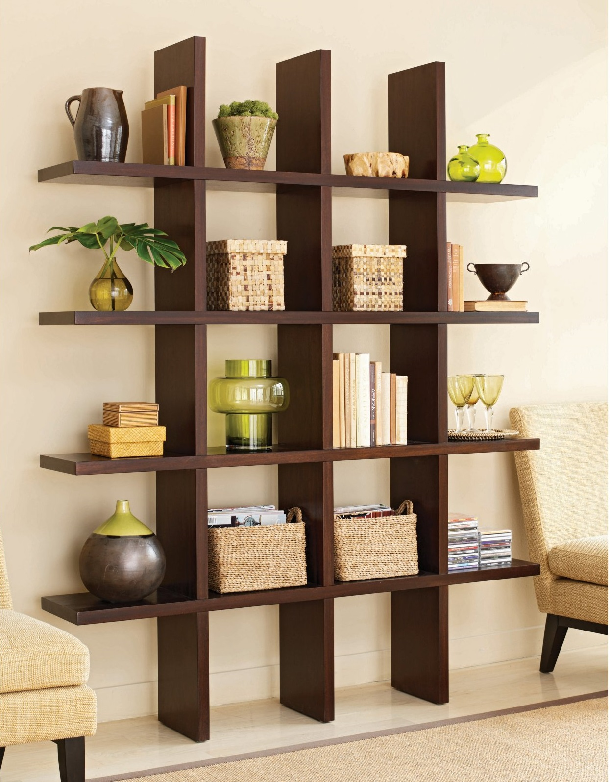 Interesting Style Of Semi Circle Wooden Wall Book Shelves Design