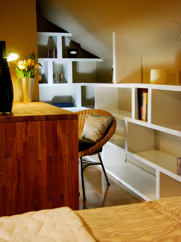 Interesting Wooden Space Saving Desk and Chair also Lush Bookshelve