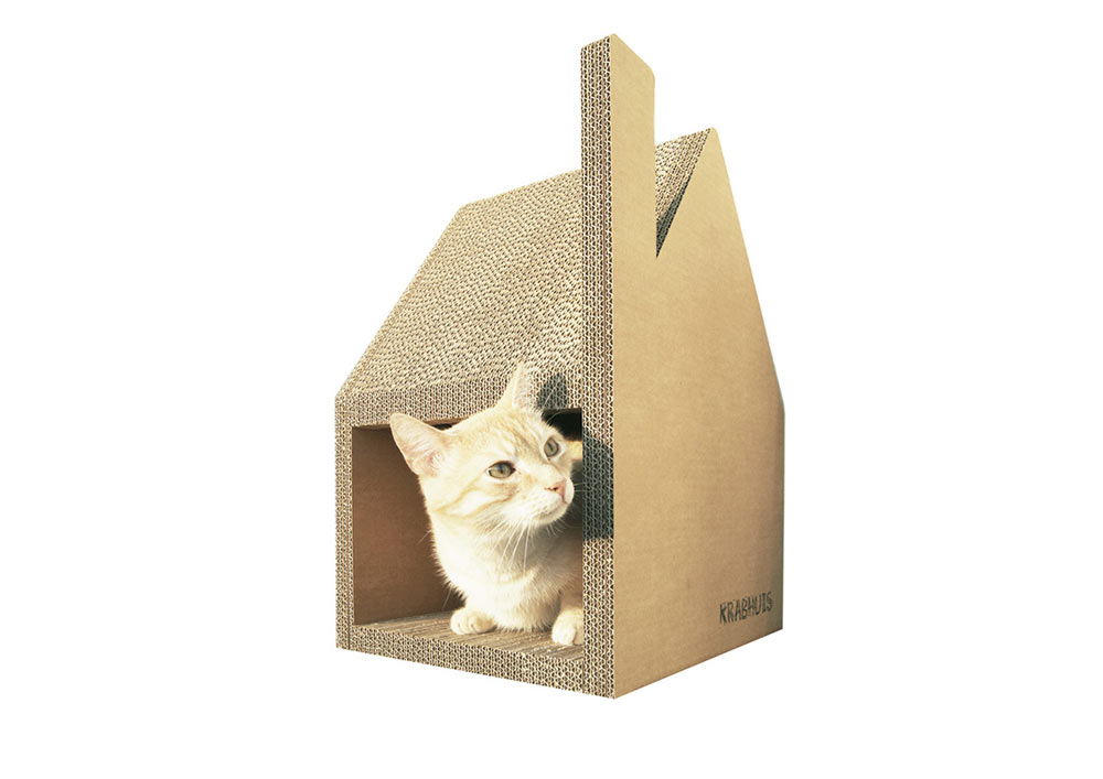 Attirant Inviting Style Of Cardboard Cat House With Large Door Design
