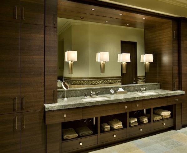 Lavish Cabinet also Granite Top Plus Wall Lamps On Mirrors