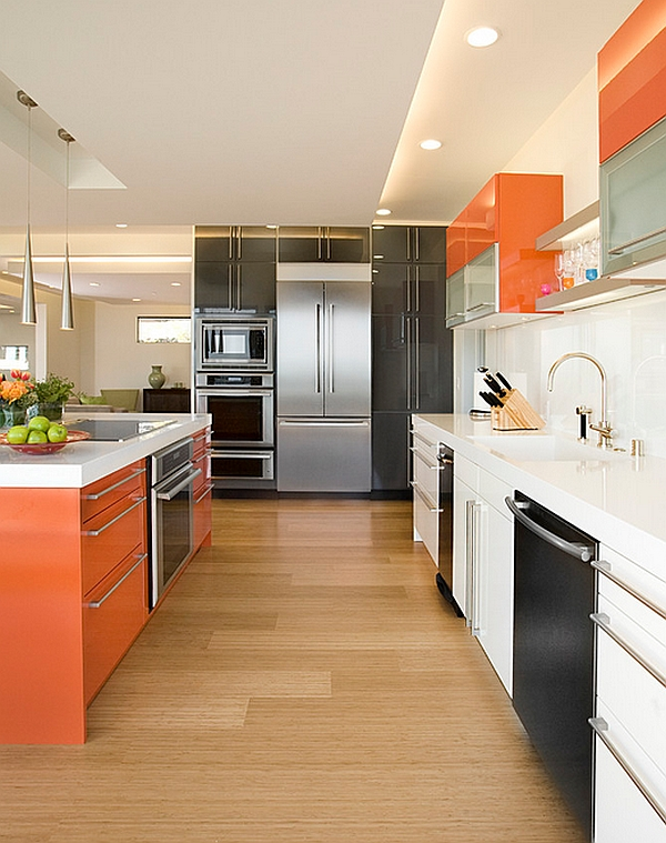Lavish Interior White Kitchen Designs Using Orange and Dark Accent