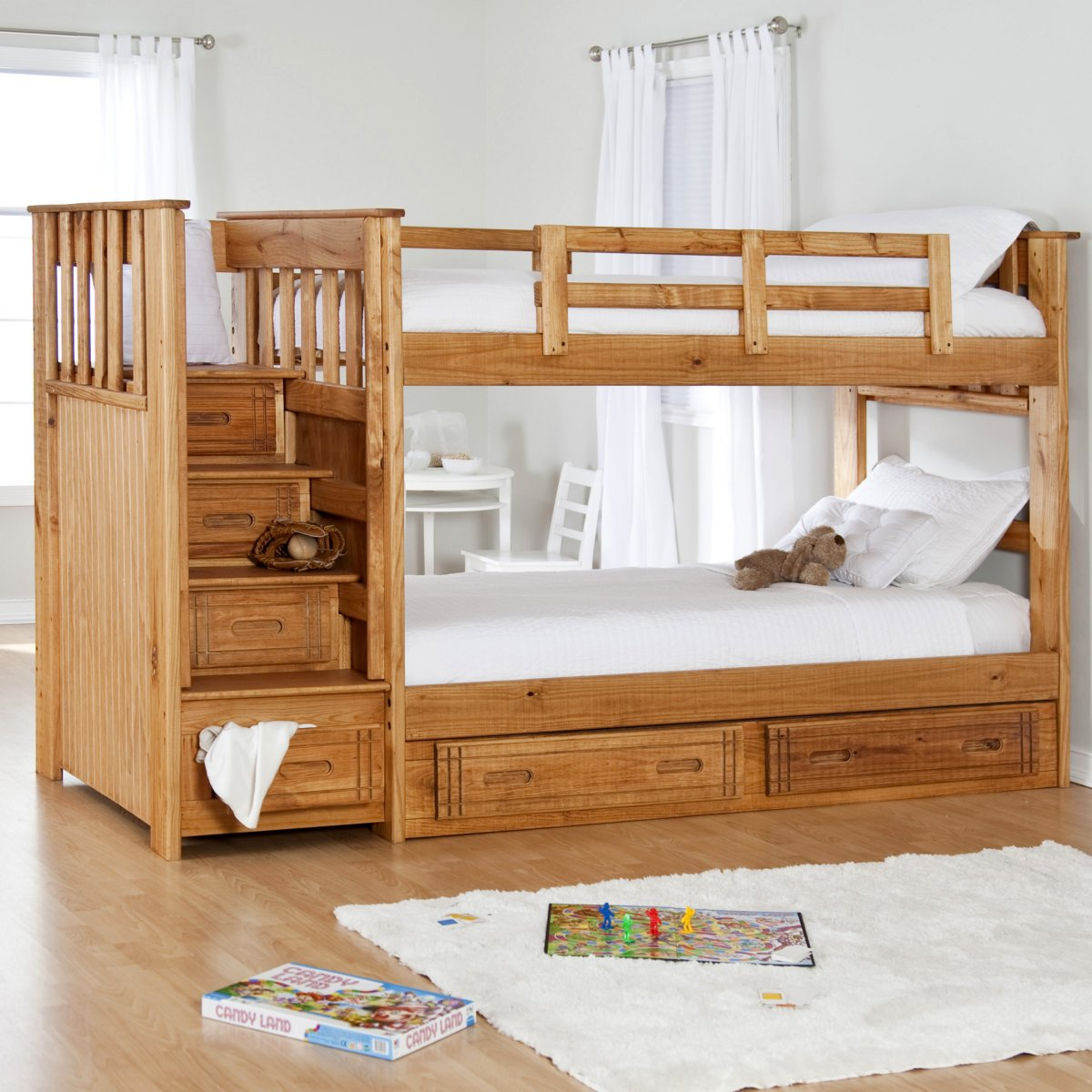 Lavish Kids Bedroom Using Wooden Bunk Bed With Ladder and Storages