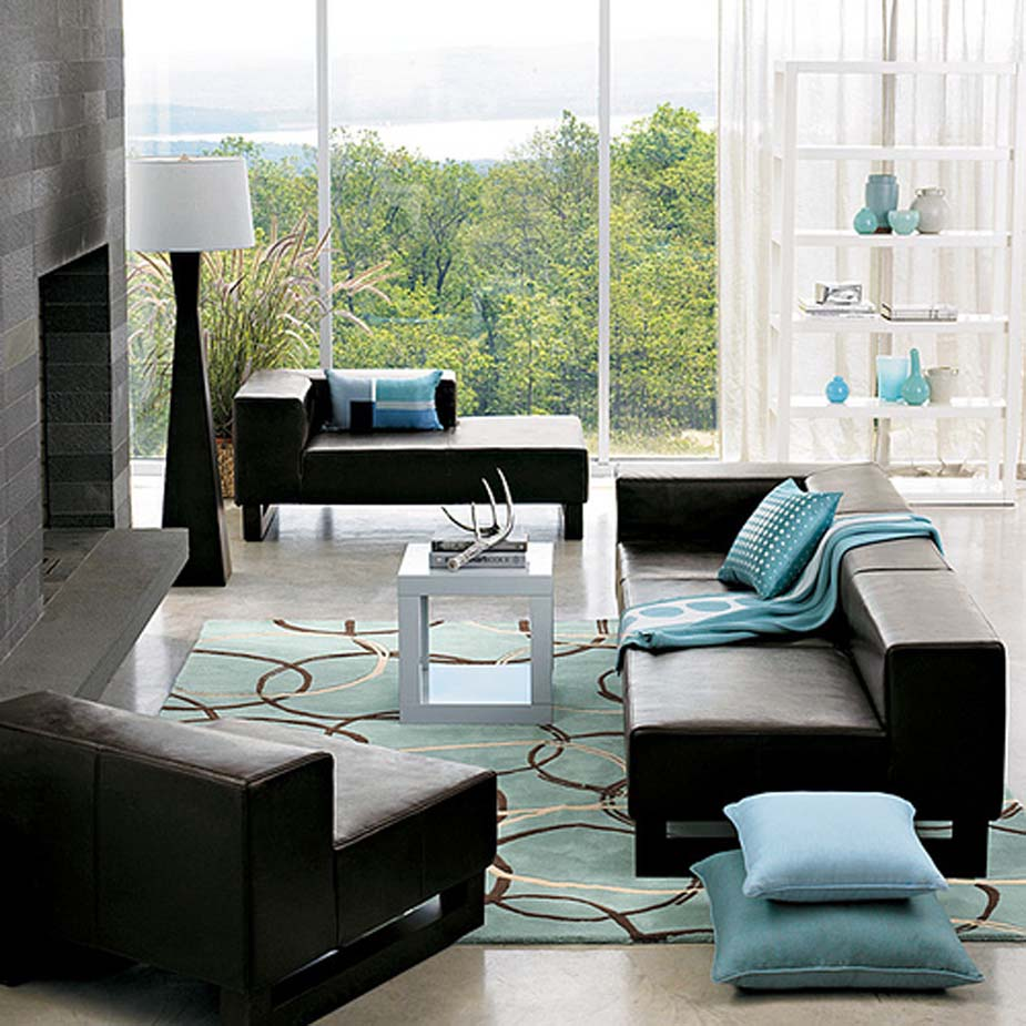 Lavish Living Area With Chic Table Decoration Ideas also Black Sofas
