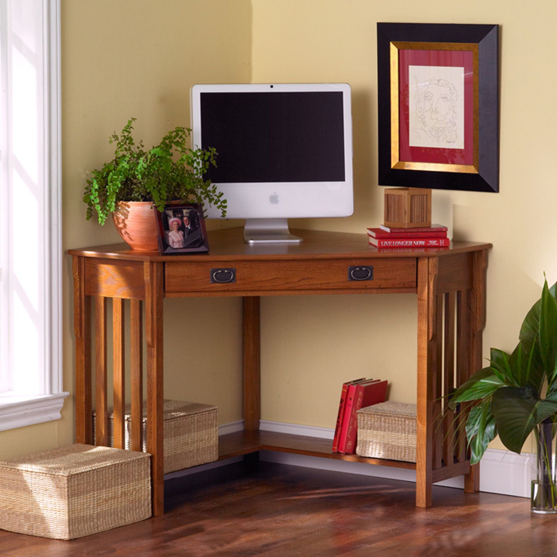Lavish Office Room Using Brown Wooden Desk For Small Space Near Window
