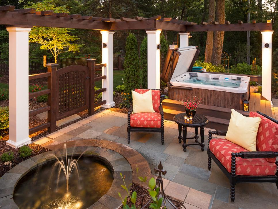 Beau Lavish Patio With Arm Chair And Table Plus Water Fountain