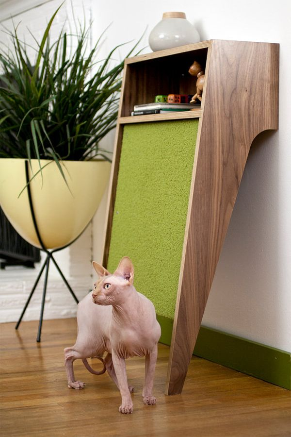 Charmant Lavish Wooden Cat House Design Ideas With Shelve Near Plant