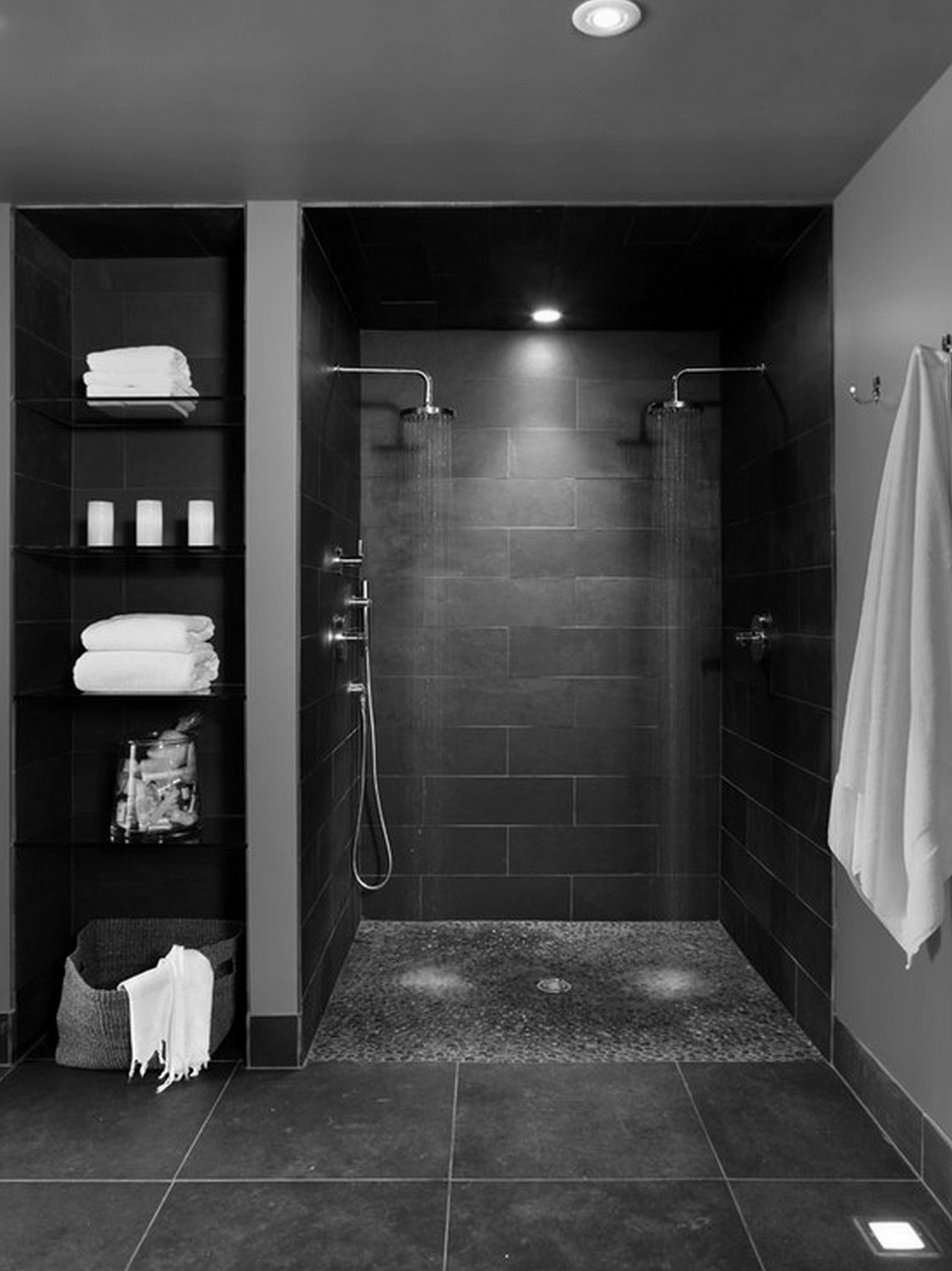 Lovely Design Of The Basement Bathroom Ideas With Black Wall Ideas Added With Black Wooden Shelves For Bottle And Towel Ideas