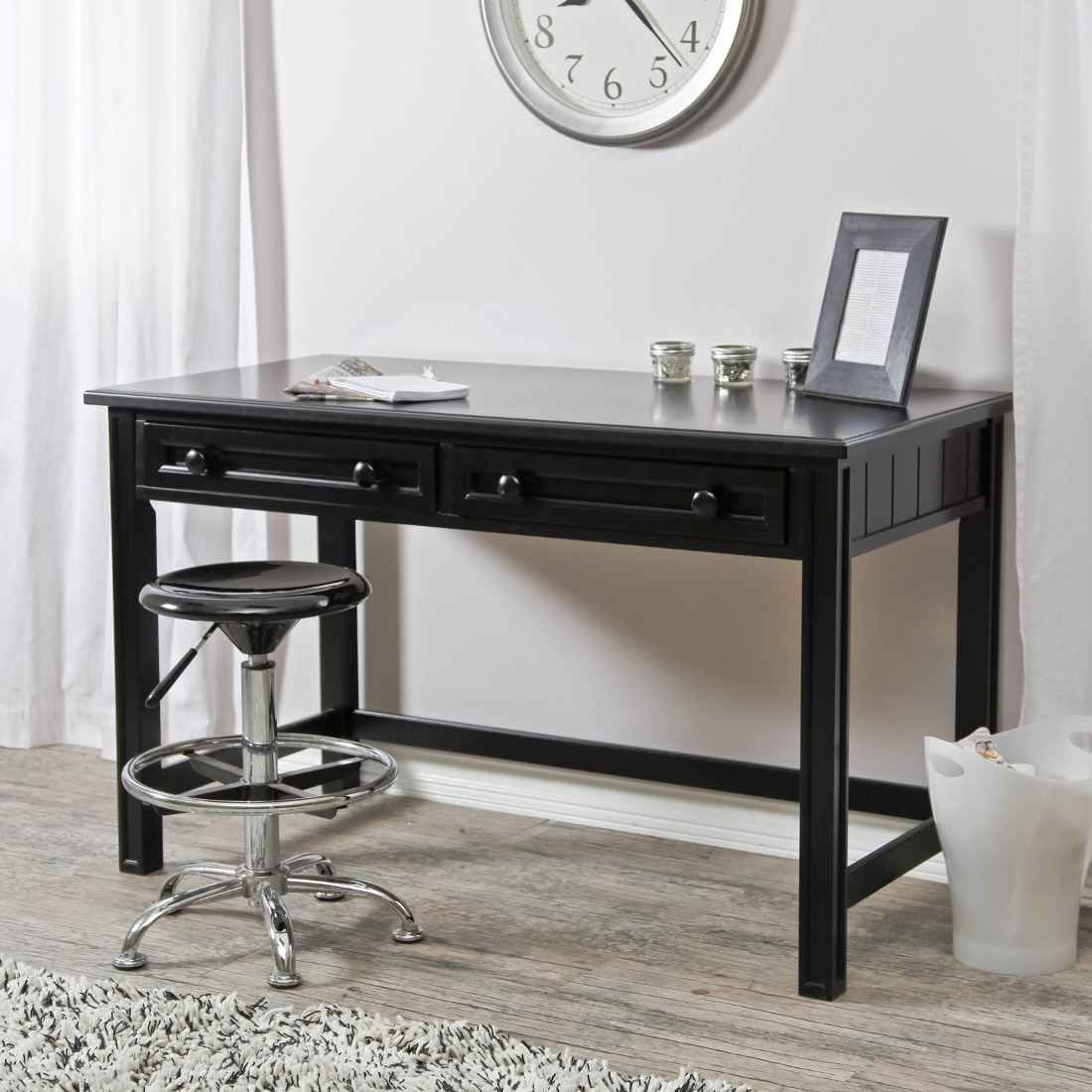 Lovely Design Of The Black Desk With Drawers With White Wall Added With Grey Wooden Floor And Grey Rugs Ideas