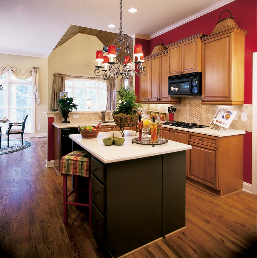 Attrayant Lovely Design Of The Kitchen Decorating Themes With Brown Wooden Floor Ideas  Added With Brown Woode