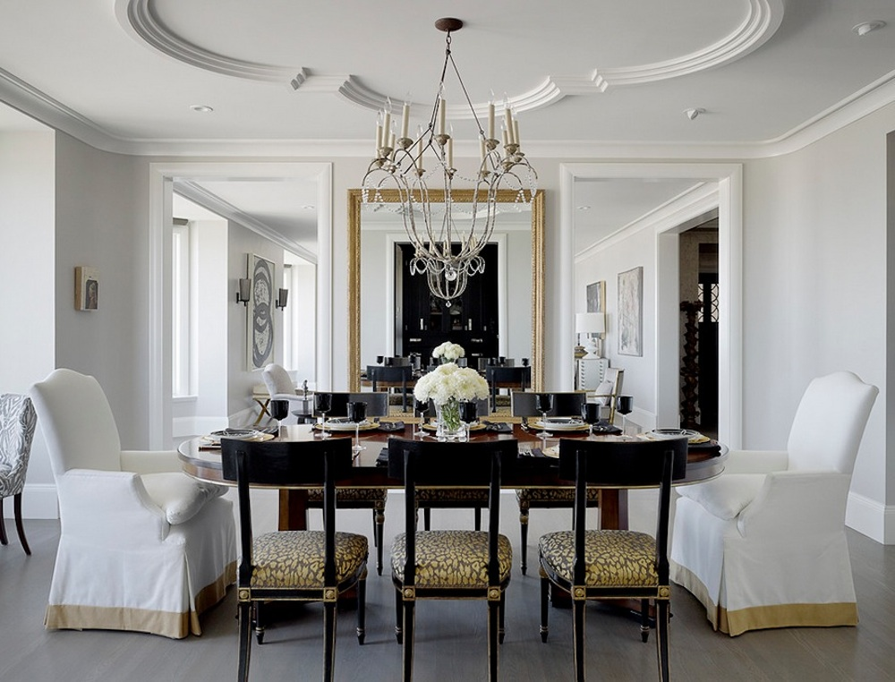 Lovely Dining Room Using Crown Moulding Ideas also Table under Chic Chandelier